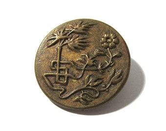 Victorian Picture Button Brass ANTIQUE Button One (1) Flowers Trees Floral Victorian Wedding Jewelry Sewing Costume Supplies (G173)