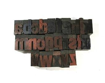 "Vintage Wooden Letterpress Type Blocks YOUR CHOICE 1 5/16"" Lowercase Wood Letterpress Type Alphabet A-Z Home Decor Assemblage Supply (D90)"