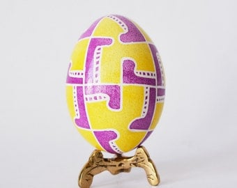 yellow and  pink egg with symbols of new life baby announcement clue gifts Easter gifts for baby girl personalize this egg for new child