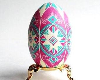Turquoise and pink Pysanka egg batik egg on chicken egg shell Ukrainian Easter egg hand painted egg