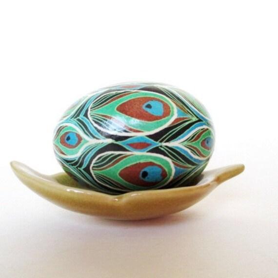 Peacock Feather Pysanka batik decorated egg Ukrainian Easter egg