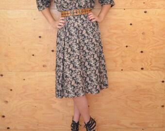 Vintage Black & Pink Floral Calico Print Dress, A-line Skirt, Midi Length SZ Medium