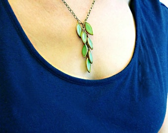 Cascading Leaves Necklace, Rare Vintage Glass and Brass, Green Bead
