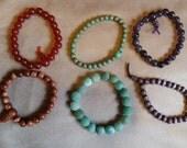 Glass bead stretchy bracelets - orange goldstone, green crackle, speckle green turquoise, amethyst, purple tigers eye , bloodstone red