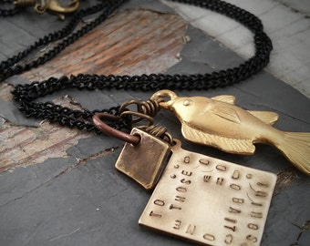 Good Things Come to Those Who Bait - metalwork bass fish charm, lure & stamped tag, chain necklace