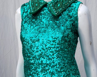 Vintage 60's all sequin beaded HONG KONG green sequin top sleeveless blouse size M by thekaliman