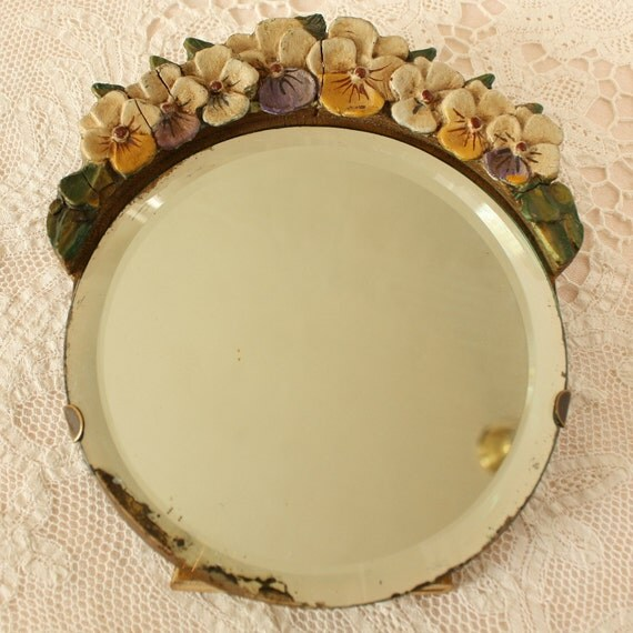 antique barbola pansy mirror beveled english