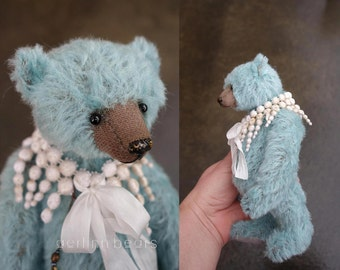 Charming, Turquoise Mohair Artist Teddy Bear from Aerlinn Bears