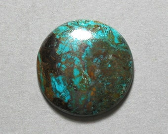 CHRYSOCOLLA cabochon round 25mm green blue disc designer cab