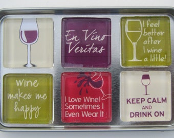Wine-Themed Refrigerator Magnets, Wine Lover Gift, Wine Magnets, Wine Gift, Set of 6 Wine Fridge Magnets
