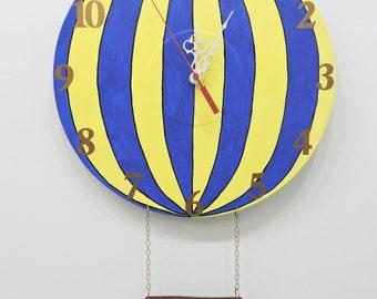 Hot Air Balloon Clock Yellow and Bue Ready to Ship