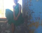 Girls Short Convertible Wrap Dress-Full circle skirt-Octopus Twirl Dress- Emerald Green Flower Girl, Weddings, Birthday, Summer Dress
