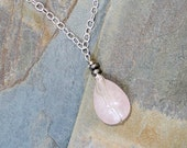Rose Quartz Necklace, Pink Necklace, Natural Stone Necklace, Wire Wrapped Necklace, Pink and Silver Necklace, Handmade Necklace