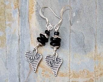 Dangly Heart Earrings, Black Earrings, Black Glass Earrings, Love Earrings, Handmade Earrings, Black Heart Earrings, Mother's Day Earrings