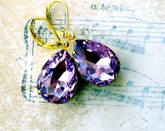 Scent of Orchids, Bodacious Lilac Purple Rhinestone Tear Drop Rhinestone Earrings by Hollywood Hillbilly