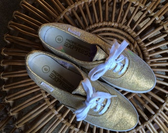 SALE! Was 45 Size 6 vintage Pacific Express gold glitter Keds tennies sneakers tennis shoes retro metallic unique 80's 70's disco hipster