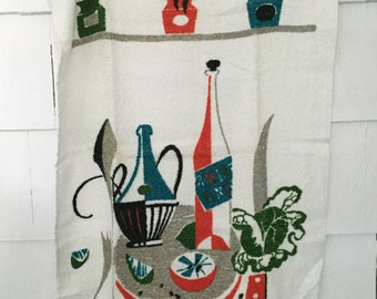 """Vintage Terry Cloth Towel by Cannon, Mid Century Modern Kitchen Graphics All Cotton Never Used Made in USA, 18"""" x 29"""" Dishcloth"""