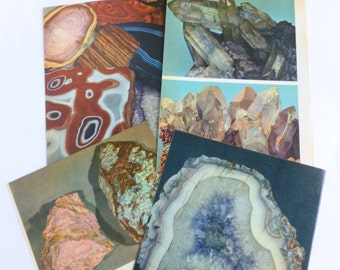 Rocks and Minerals Color Book Plates Photographs Illustrations Prints Pages Pinks Purples Blues Cool Colors Lot