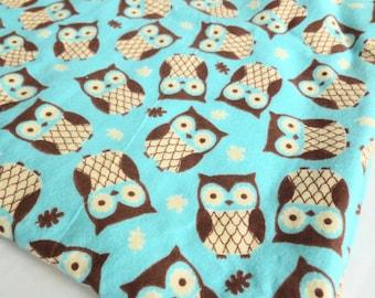 Owls Flannel Fabric Juvenile Print Turquoise, Cream, Chocolate Brown Destash One Yard Yardage