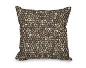 Coffee Throw Pillow Cover, modern pillow cover, brown and gray mosaic design, home decor, decorative pillow, printed accent pillow