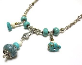 Turquoise Necklace, Fringe Necklace, Detailed Silver Beading, River Rock, Boho Statement Necklace, Southwest Jewelry, Pottery Bead, OOAK