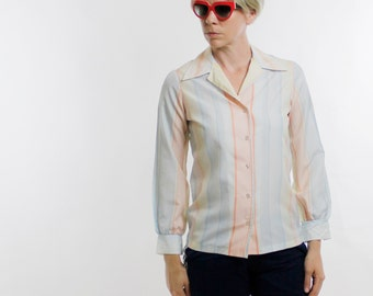 Vintage 70's button down polyester top, lightweight, pastel stripes, yellow, blue, orange, white, Lady Arrow brand - Medium