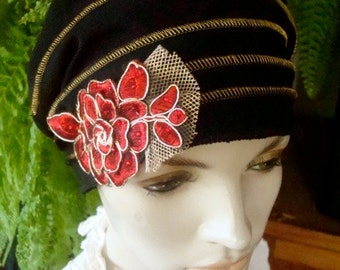 Womens Slouchy Hat Evening Hat Chemo Hat Black and Gold Flapper Cloche Slouch Beanie Bohemian
