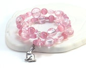 Pretty Pink Beaded Bracelet - Pewter Rabbit Charm, Rose Pink Cats Eye Beads, Bunny Jewelry, Memory Wire Bracelet, Feminine Soft Pastel