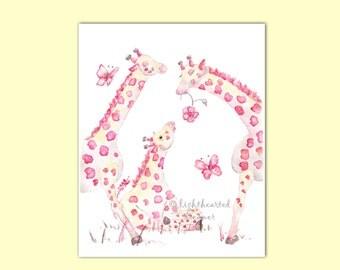 Pink Giraffe Print, Baby Girl Nursery, Giraffe Painting, baby girl gift, Pink, Girl's Nursery Painting, Safari Nursery, Giraffe Nursery