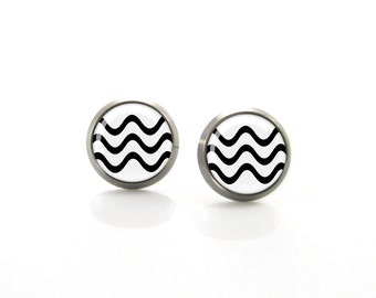 Black White Chevron zig zag Titanium Post Earrings | Hypoallergenic Earring Stud | Titanium Earring Stud | Sensitive jewelry post studs