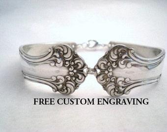 Avon 1901, Spoon Bracelet, FREE ENGRAVING, Spoon Jewelry, Silverware Jewelry, SIlverware Bracelet, Silver Bracelet, Vintage Wedding