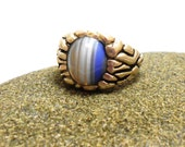 Agate Blue Striped Agate Genuine Gemstone Sterling Silver Ring Man's Ring