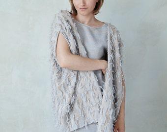 Knit fringed cardigan fuzzy boho knit blanket cardi jacket shrug - ivory sand light gray