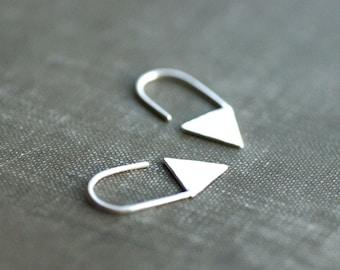 Triangle Hook Earrings - Small - Hoops - Sterling Silver