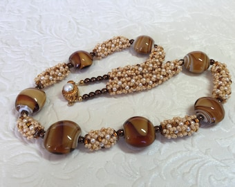 Rootbeer Lampwork Glass and Pearl Necklace