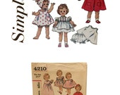 Vintage Kissy Doll Clothes Pattern, Doll Dress Pattern, Doll Pinafore Pattern, Doll Cape Pattern, Vintage Simplicity 4210 Sewing Pattern