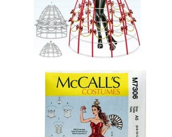 McCall's M7306 Sewing Pattern, Misses Costume Pattern, Misses Corset Pattern, Hoop Skirt Pattern Crown Pattern Shorts Pattern Collar Pattern