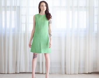 60s MOD Mini Dress - Vintage 1960s John Mayer Dress - Grass is Greener Dress