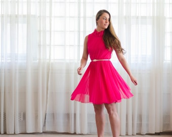 Vintage 1960s Cocktail Dress - 60s Hot Pink Dress - Hot Spot Dress