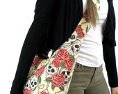 SKULL BAG - Hobo Bag - Crossbody Hobo Bag - Hippie Bag - Boho Bag - Hobo Purse - Slouch Bag - Goth Bag - Slouchy Hobo Bag - Vegan Bag