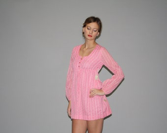 1960s Mod  Pink Babydoll Mini Dress - 60s Pink Dress - Vintage Pink Short Dress - WD0671