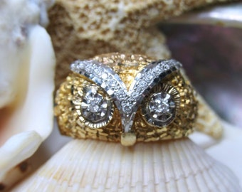 14k Owl Ring with Diamonds 9.43g Size 10.5