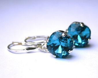 Cushion Cut Drop Earrings In Teal Blue - Indicolite Blue Earrings - Swarovski Crystal Square Stones With Sterling Silver Leverbacks
