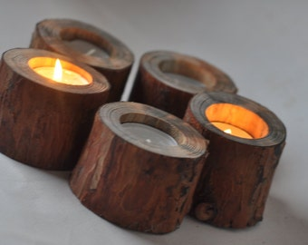 Natural Pine Candle Holders • set of 5