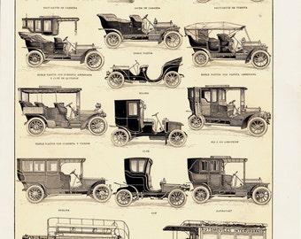 1905 Antique CAR print. Original antique motoring didactic chart, old motor vehicle models, road traffic, race car, sedan, bus,