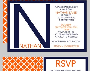 Monogram Initial Bar Mitzvah Invitation - Navy Blue Orange - Rsvp Card - Celebration Card - Thank You Note - Addressing - USE for ANY EVENT