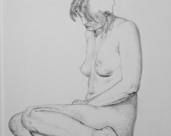 Female Nude Sitting Position Pencil Drawing Realistic Modern Relaxed Original A4