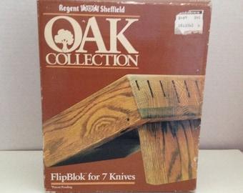 Regent Sheffield Knife Block FlipBlok for 7 Knives Oak Collection