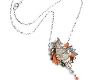 Star Herder — antique spoon and riveted vintage tin necklace