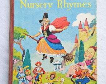 Mother Goose Nursery Rhymes, H.Cauldwell, Vintage Childrens Book, Illustrated, 1950s, Charming Illustrations, Collins, UK Seller,
